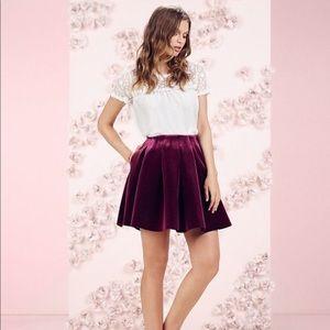 LC Lauren Conrad Runway | Pleated Velvet Skirt